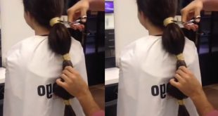 She made a ponytail for her long hair and then took scissors: the rest is completely shocking! New Hairstyle Trends