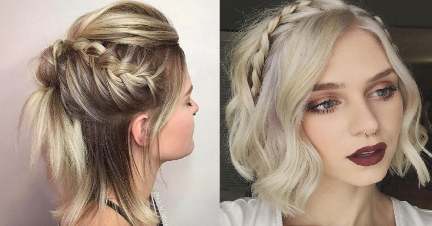 Short hair hairstyle: the braid on short hair is an ideal choice Hairstyles with Braids
