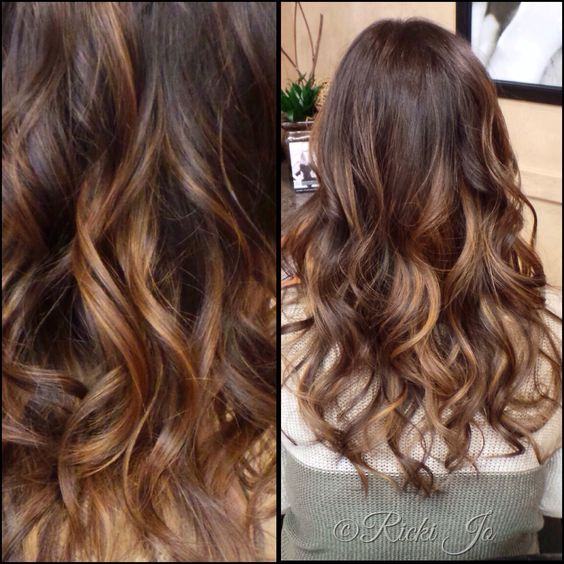 caramel sweep model Hair Color Ideas
