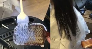 She puts dye on a hairbrush and combs the ends of the hair: the results are miraculous !! Hair Styling Tips