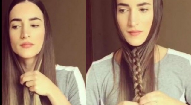 She starts a braid under the chin but right after it is a beautiful tip! Hair Styling Tips